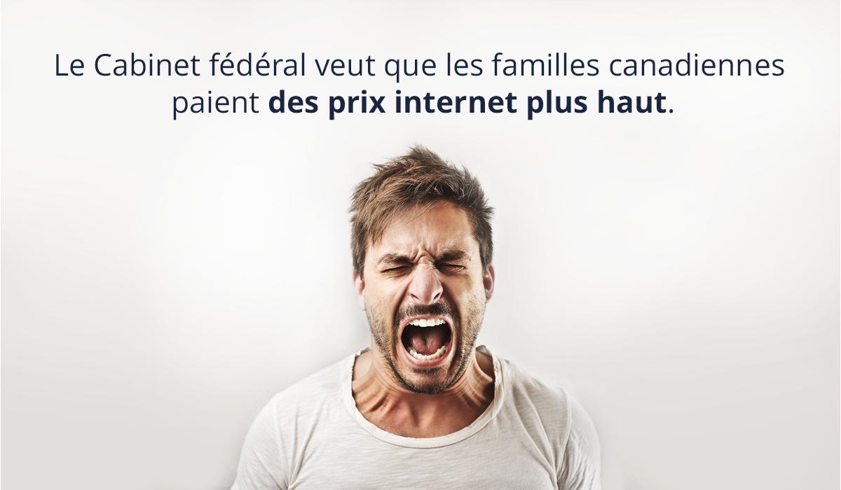 Le Cabinet fédérale condamne les familles canadiennes à des prix internet encore plus chers pour renflouer les grosses compagnies télécom